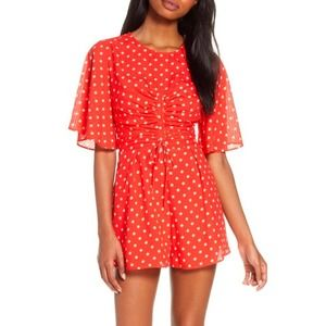 NEW Finders Keepers Rosie Red White Dot Romper XL